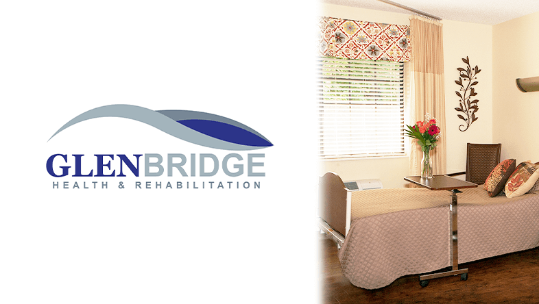 Glenbridge Health and Rehabilitation Logo on left. Senior Living on Right