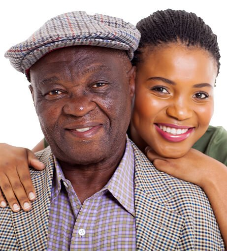 Young woman leans on older senior gentleman