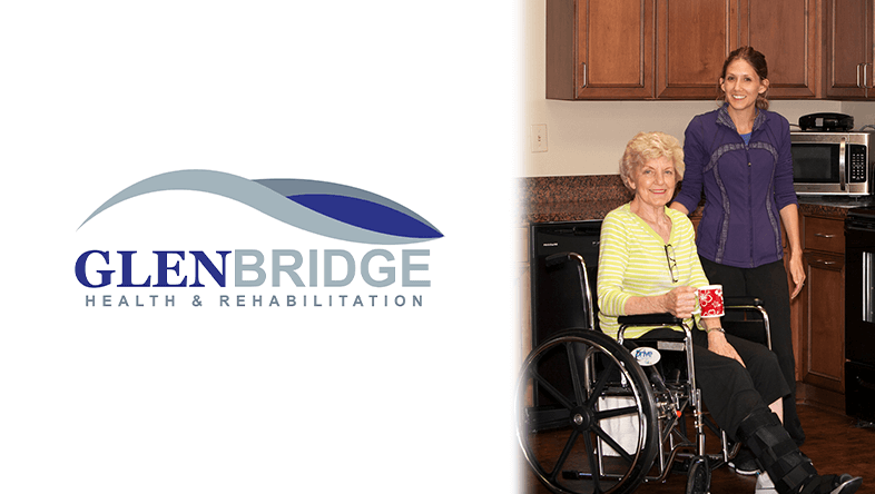 Glenbridge Health & Rehabilitation logo on left, woman and her physical therapist on right