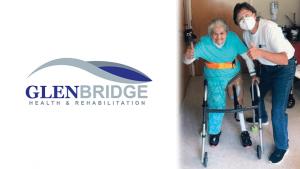 Glenbridge Health and Rehabilitation logo on left. Woman with prosthetic leg on right.