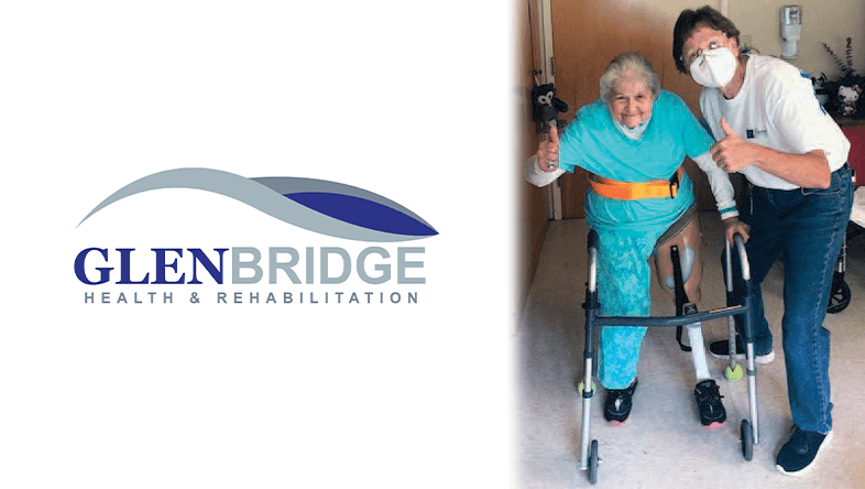 Glenbridge Health and Rehabilitation logo on left. Woman with prosthetic leg on right.