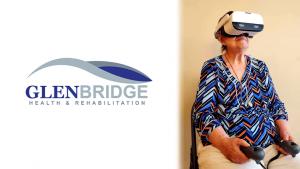Glenbridge Health & Rehabilitation logo on left, elderly woman wearing VR headset on right