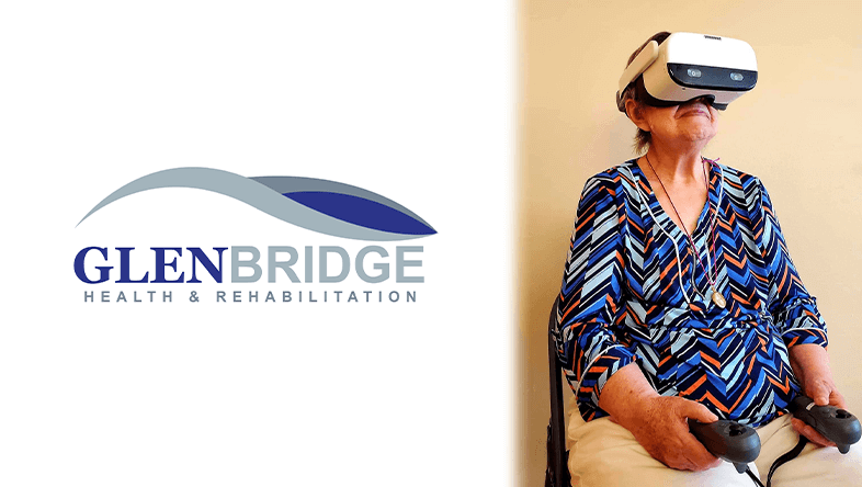 Glenbridge Health & Rehabilitation logo on left, elderly woman wearing VR headset on right