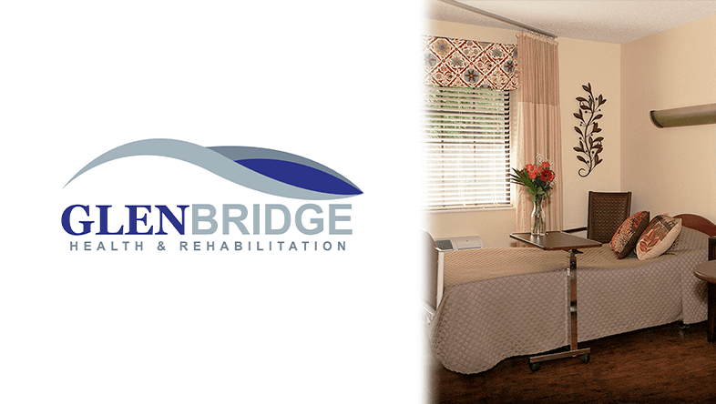 Glenbridge Health & Rehabilitation Logo and interior room photo